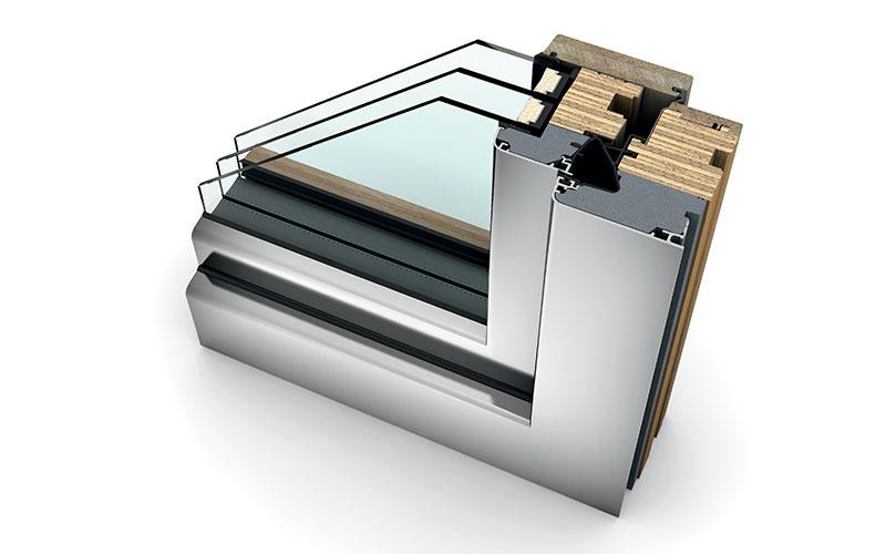 sezione serramento legno alluminio internorm
