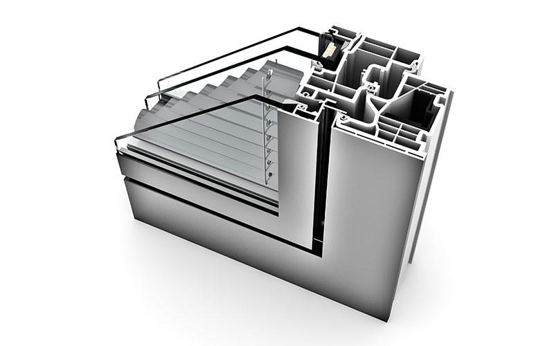 sezione serramento alluminio internorm